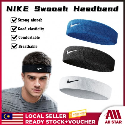 ( CLEAR STOCK ) BUYMALL Malaysia NIKE Non-Slip Swoosh Sport Men Women Cotton Running Gym Fitness Sweat Fast Drying Work Out Absorbent Headband