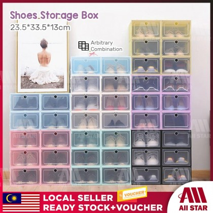 BUYMALL Malaysia Colourful Large Transparent Plastic Storage Box Shoes Flip Per Stackable Colourful Pp Plastic Shoes Box Ready Stock