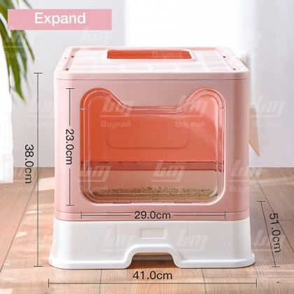 BUYMALL Malaysia Large Foldable Cat Litter Box with Lid Enclosed Potty Top Entry Anti-Splashing Toilet Easy to Clean FREE Scoop